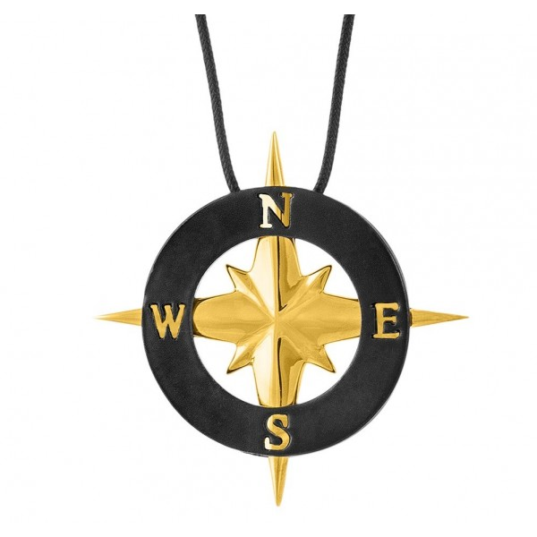 HONOR Never Lost Compass Pendant black gold